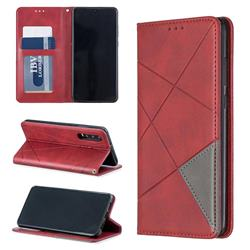 Prismatic Slim Magnetic Sucking Stitching Wallet Flip Cover for Huawei P30 - Red