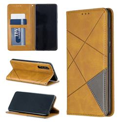 Prismatic Slim Magnetic Sucking Stitching Wallet Flip Cover for Huawei P30 - Yellow