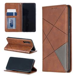 Prismatic Slim Magnetic Sucking Stitching Wallet Flip Cover for Huawei P30 - Brown