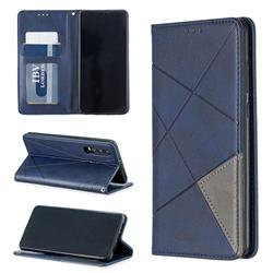 Prismatic Slim Magnetic Sucking Stitching Wallet Flip Cover for Huawei P30 - Blue