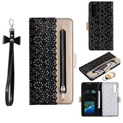 Luxury Lace Zipper Stitching Leather Phone Wallet Case for Huawei P30 - Black