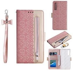 Luxury Lace Zipper Stitching Leather Phone Wallet Case for Huawei P30 - Pink