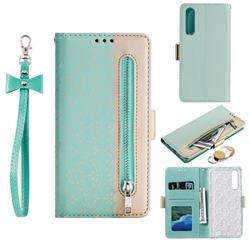 Luxury Lace Zipper Stitching Leather Phone Wallet Case for Huawei P30 - Green