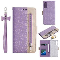 Luxury Lace Zipper Stitching Leather Phone Wallet Case for Huawei P30 - Purple