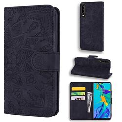 Retro Embossing Mandala Flower Leather Wallet Case for Huawei P30 - Black