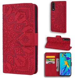 Retro Embossing Mandala Flower Leather Wallet Case for Huawei P30 - Red