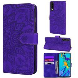 Retro Embossing Mandala Flower Leather Wallet Case for Huawei P30 - Purple