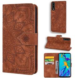 Retro Embossing Mandala Flower Leather Wallet Case for Huawei P30 - Brown