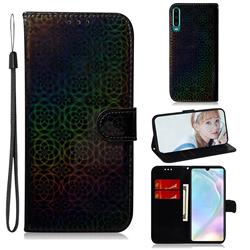 Laser Circle Shining Leather Wallet Phone Case for Huawei P30 - Black