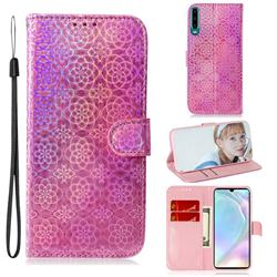Laser Circle Shining Leather Wallet Phone Case for Huawei P30 - Pink