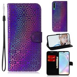 Laser Circle Shining Leather Wallet Phone Case for Huawei P30 - Purple