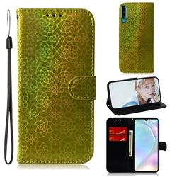 Laser Circle Shining Leather Wallet Phone Case for Huawei P30 - Golden