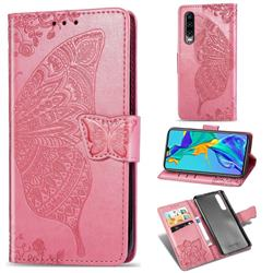 Embossing Mandala Flower Butterfly Leather Wallet Case for Huawei P30 - Pink