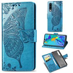 Embossing Mandala Flower Butterfly Leather Wallet Case for Huawei P30 - Blue