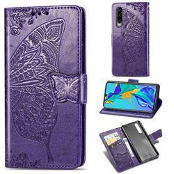 Embossing Mandala Flower Butterfly Leather Wallet Case for Huawei P30 - Dark Purple