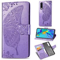 Embossing Mandala Flower Butterfly Leather Wallet Case for Huawei P30 - Light Purple