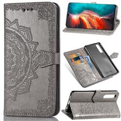 Embossing Imprint Mandala Flower Leather Wallet Case for Huawei P30 - Gray