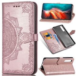 Embossing Imprint Mandala Flower Leather Wallet Case for Huawei P30 - Rose Gold