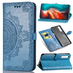 Embossing Imprint Mandala Flower Leather Wallet Case for Huawei P30 - Blue