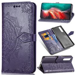 Embossing Imprint Mandala Flower Leather Wallet Case for Huawei P30 - Purple