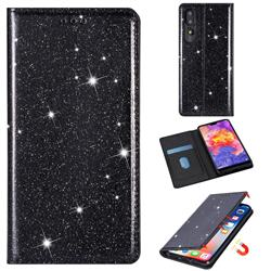 Ultra Slim Glitter Powder Magnetic Automatic Suction Leather Wallet Case for Huawei P30 - Black