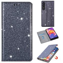 Ultra Slim Glitter Powder Magnetic Automatic Suction Leather Wallet Case for Huawei P30 - Gray