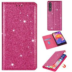 Ultra Slim Glitter Powder Magnetic Automatic Suction Leather Wallet Case for Huawei P30 - Rose Red