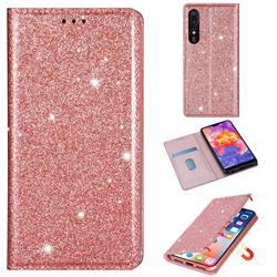 Ultra Slim Glitter Powder Magnetic Automatic Suction Leather Wallet Case for Huawei P30 - Rose Gold