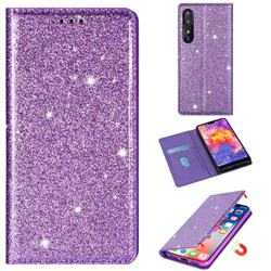 Ultra Slim Glitter Powder Magnetic Automatic Suction Leather Wallet Case for Huawei P30 - Purple