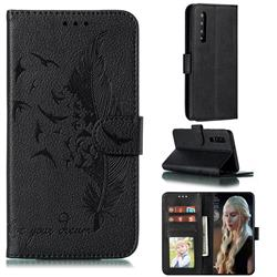 Intricate Embossing Lychee Feather Bird Leather Wallet Case for Huawei P30 - Black