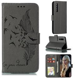 Intricate Embossing Lychee Feather Bird Leather Wallet Case for Huawei P30 - Gray