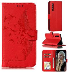 Intricate Embossing Lychee Feather Bird Leather Wallet Case for Huawei P30 - Red