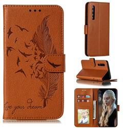 Intricate Embossing Lychee Feather Bird Leather Wallet Case for Huawei P30 - Brown