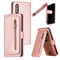 Multifunction 9 Cards Leather Zipper Wallet Phone Case for Huawei P30 - Rose Gold