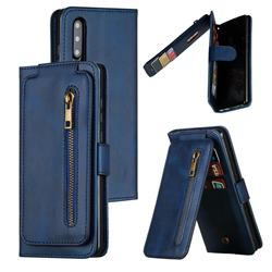 Multifunction 9 Cards Leather Zipper Wallet Phone Case for Huawei P30 - Blue