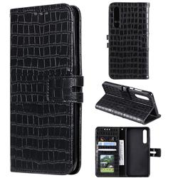 Luxury Crocodile Magnetic Leather Wallet Phone Case for Huawei P30 - Black