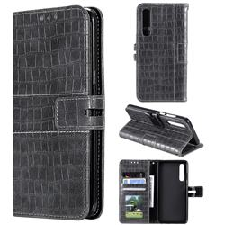 Luxury Crocodile Magnetic Leather Wallet Phone Case for Huawei P30 - Gray