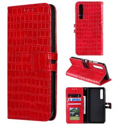 Luxury Crocodile Magnetic Leather Wallet Phone Case for Huawei P30 - Red