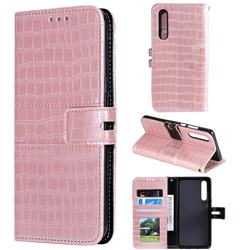 Luxury Crocodile Magnetic Leather Wallet Phone Case for Huawei P30 - Rose Gold