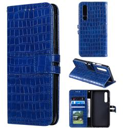 Luxury Crocodile Magnetic Leather Wallet Phone Case for Huawei P30 - Blue