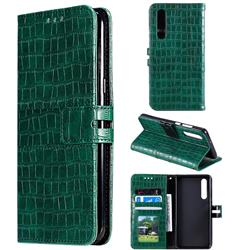 Luxury Crocodile Magnetic Leather Wallet Phone Case for Huawei P30 - Green