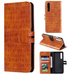 Luxury Crocodile Magnetic Leather Wallet Phone Case for Huawei P30 - Brown