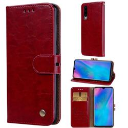 Luxury Retro Oil Wax PU Leather Wallet Phone Case for Huawei P30 - Brown Red