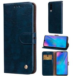 Luxury Retro Oil Wax PU Leather Wallet Phone Case for Huawei P30 - Sapphire