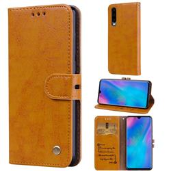 Luxury Retro Oil Wax PU Leather Wallet Phone Case for Huawei P30 - Orange Yellow