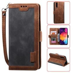 Luxury Retro Stitching Leather Wallet Phone Case for Huawei P30 - Gray