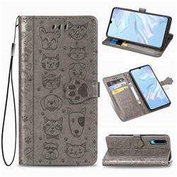 Embossing Dog Paw Kitten and Puppy Leather Wallet Case for Huawei P30 - Gray
