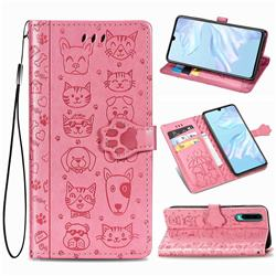 Embossing Dog Paw Kitten and Puppy Leather Wallet Case for Huawei P30 - Pink