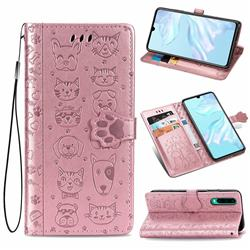 Embossing Dog Paw Kitten and Puppy Leather Wallet Case for Huawei P30 - Rose Gold