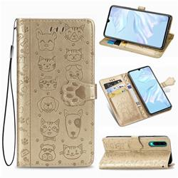 Embossing Dog Paw Kitten and Puppy Leather Wallet Case for Huawei P30 - Champagne Gold
